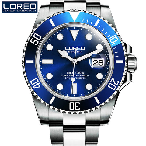 High Quality LOREO Men Watches Top Brand Luxury Sapphire 200m Waterproof Military Watches Men Automatic Mechanical Wrist Watches