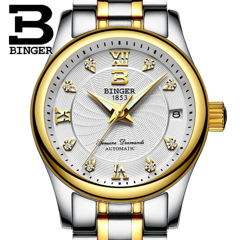 Genuine Luxury Switzerland BINGER Women automatic mechanical self-wind diamond sapphire watch fashion business female waterproof