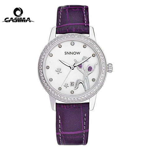 CASIMA SNNOW Series Women Watches Casual Crystal Leather Strap Quartz Wrist Watch Ladies Waterproof 100m Clock Reloj Mujer 2017