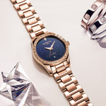 2018 New CARNIVAL Women's TopBrand luxury Hollow Stars Dial Crystal Inlaid Wrist Watch Rose Gold Steel Fashion relogio feminino