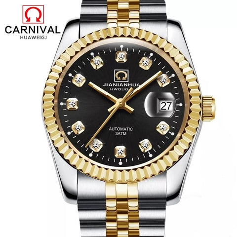 Carnival Top Brand Automatic Watch Men Luxury Diamond Gold Mechanical Watches Datejust Fluted Bezel Mens Clock horloges mannen