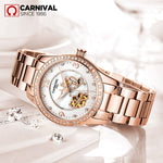 2018 New CARNIVAL luxury Hollow Pearl Dial Diamond Inlaid Women Watch Rose Gold Steel Wristlet Luminous Fashionable Female Watch