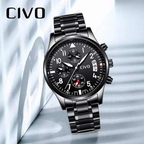 CIVO Men Waterproof Analogue Watches Military Sports Watch Gents Date Calendar Relogio Masculino Quartz Watch Jam Tangan Pria
