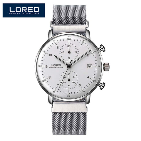 LOREO Men's Quartz-Watch 316L Stainless steel Mesh belt Date Luminous 30M Waterproof Sport WristWatch Man Quartz Watches Men