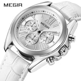 Top Brand New MEGIR Chronograph Women Watch Luxury Lover Clock Leather Strap Classic Lady White Watches Dress Clock Female 2019