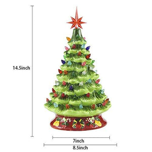 "15"" Ceramic Christmas Tree with Decorations (Red)"