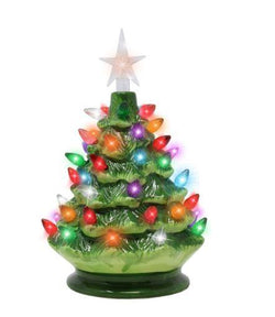 "9"" Tabletop Prelit Ceramic Christmas Tree"