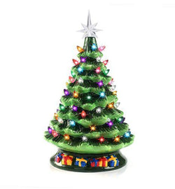 "15"" Tabletop Prelit Ceramic Christmas Tree with 70 Multicolor Bulbs"