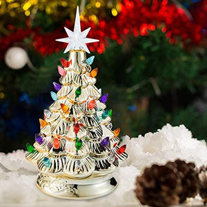 "12"" Gold Ceramic Christmas Tree"