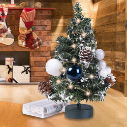 Prelit Tabletop  Christmas Tree with Pine Cones and Ornaments