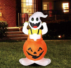 Tall Halloween Ghost in Pumpkin Overall Inflatable (4 ft)