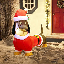 Christmas Santa's 'Lil Helper Dachshund Inflatable