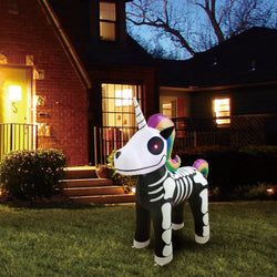 Tall Skeleton Unicorn Inflatable (5 ft)