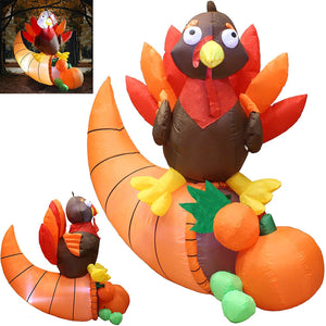 Tall Thanksgiving Turkey on Cornucopia (5 ft)