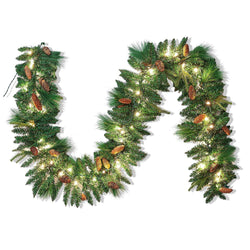 9 ft Carolina Pine Artificial Garland with 50 Lights & Decorations