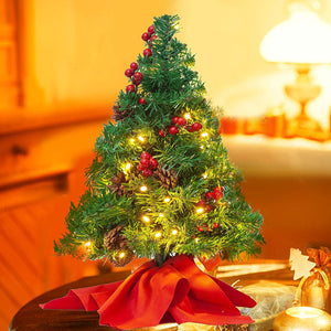 "22"" Prelit Tabletop Christmas Tree with Holy Leaves & Pine Cones"