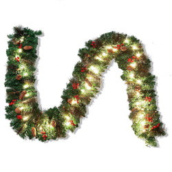 9 ft Artificial Garland with 50 Lights & Decorations