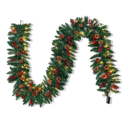 9 ft Artificial Garland with100 LED Lights & Decorations