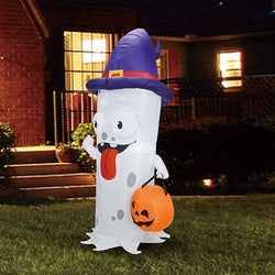 Tall Ghost with Pumpkin Candy Pail Inflatable (5 ft)