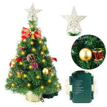 "Load image into Gallery viewer, 23"" Deluxe Prelit Table-top Christmas Tree with Star Topper"