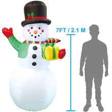 Load image into Gallery viewer, Large Snowman with Present Inflatable (7 ft)