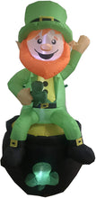Load image into Gallery viewer, Large St. Patrick's Sitting Leprechaun Inflatable (6 ft)