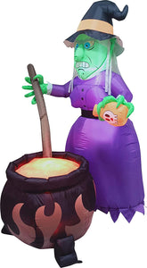 Large Witch with Cauldron Inflatable (6 ft)