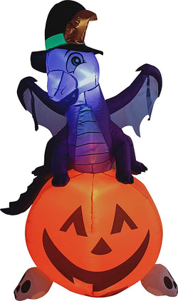 Tall Dragon on Pumpkin Inflatable (5 ft)