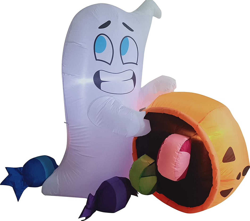 Tall Cute Ghost Dump Pumpkin Candy Bag Inflatable (5 ft)