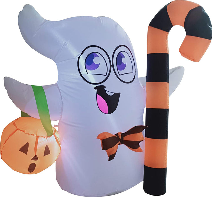 Tall Cute Ghost Inflatable Halloween Candy Cane (3.5 ft)