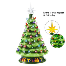 "Load image into Gallery viewer, 15"" Ceramic Christmas Tree with Decorations (Green)"