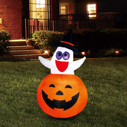 Tall Ghost with Witch Hat in Pumpkin Inflatable (4.5 ft)