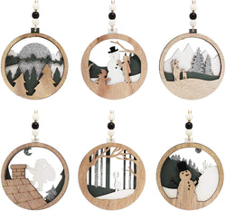 6 Pcs Wooden Christmas Hanging Ornaments