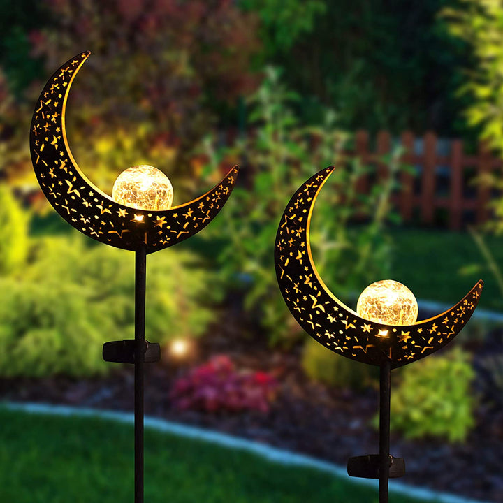 2 Pack Moon Crackle Glass Globe Solar Stake Lights