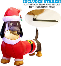 Load image into Gallery viewer, Tall Santa's 'Lil Helper Dachshund Inflatable (5ft)