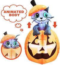 Load image into Gallery viewer, Tall Animated Kitty Cat On Pumpkin Inflatable (5 ft)