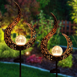 2 Pack Crackle Glass Globe Metal Solar Stake Lights