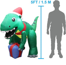 Load image into Gallery viewer, Tall Dinosaur with Hat Inflatable (5 ft)