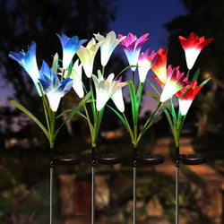4 Pack Lily Flower LED Solar Stake Lights
