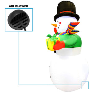 Large Snowman with Present Inflatable (7 ft)