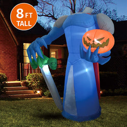Jumbo Beheaded Pumpkin Knight Inflatable (8 ft)