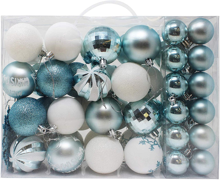 50 Pcs Christmas Ornaments, Blue and White