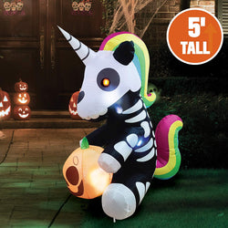 Tall Sitting Skeleton Unicorn Inflatable (5 ft)