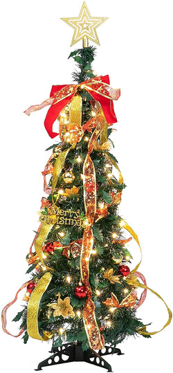 Prelit Pull Up Xmas Tree with Accessories, 3.3 ft