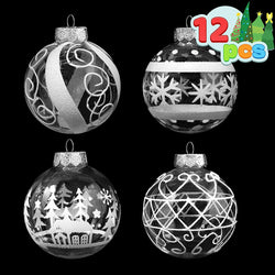 12 Pcs Christmas Ball Ornaments, White and Clear
