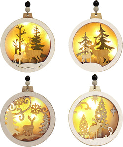 4 Pcs LED Wooden Hanging Reindeer Ornaments