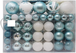 133 Pcs Christmas Ornaments, Blue and White
