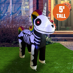 Tall Standing Skeleton Unicorn Inflatable (5 ft)