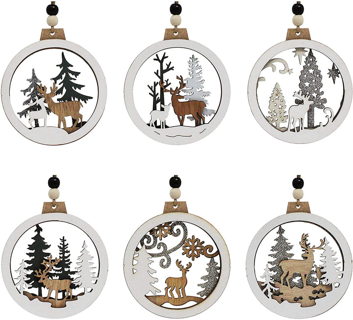 6 Pcs Wooden Reindeer Hanging Ornaments