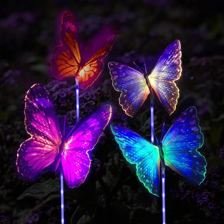 Butterfly Multi-Color LED Solar Stake Lights
